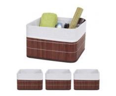 4x Aufbewahrungskorb HWC-C21, Korb Aufbewahrungsbox Ordnungsbox Sortierbox Regalkorb, Bambus braun