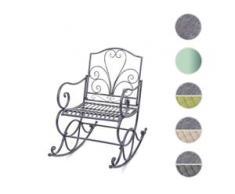 Schaukelstuhl HWC-C39, Schwingsessel Gartenstuhl, Metall Verzierung 100x60cm ~ antik-grün ohne Sitzkissen