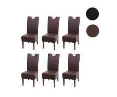 6x Esszimmerstuhl HWC-H13, Küchenstuhl Stuhl, Kunstleder Massivholz echtes Rattan Korbgeflecht ~ braun