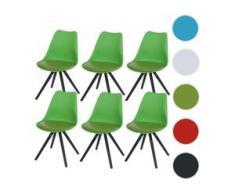 6x Esszimmerstuhl Malmö T501, Retro Design ~ grün, Sitzfläche Kunstleder grün, dunkle Beine
