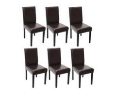 6x Esszimmerstuhl Stuhl Küchenstuhl Littau ~ Kunstleder, weiß, dunkle Beine