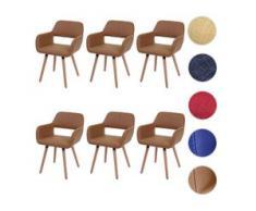 6x Esszimmerstuhl HWC-A50 II, Stuhl Küchenstuhl, Retro 50er Jahre Design ~ Kunstleder, taupe, helle Beine