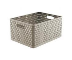 Rotho COUNTRY Aufbewahrungskorb, 28 l, Aufbewahrungsbox aus Kunststoff in moderner Rattan-Optik, Farbe: cappuccino