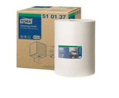 Tork Premium Reinigungstücher 510 - Rolle, 1-lagige Vliesstofftücher, 32 x 38 cm, weiß, 1 Rolle = 400 Tücher
