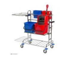 VERMOP Variant 26 Ergo Reinigungswagen, verchromt, Reinigungswagen für ergonomisches Arbeiten, Maße (L x B x H): 125 x 75 x 122