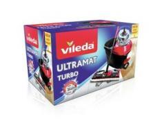 Vileda UltraMat Turbo Bodenwischer Komplett-Set, 5-teilig, Reinigen ohne Hände, ohne Bücken, ohne Kraftaufwand, 1 x Wischmop + Bezug, 1 x Eimer + Powerschleuder + Ausgusshilfe