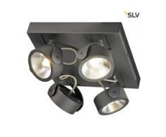 SLV 1000135 KALU LED 4 Wand- und Deckenleuchte, square, schwarz, 3000K, 60°, EEK: A++ (Spektrum: A++ bis A)