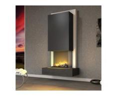 muenkel design Arco [Elektrokamin Opti-myst heat]: Negro (Schiefer schwarz) - Haube schwarz-grau - Mit Heizung