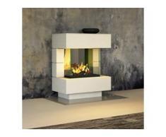 muenkel design London 750 [Elektrokamin Opti-myst]: weiß (warm) - Ohne Heizung - Dekoholz mit Stehrost (gerade)