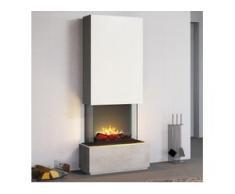 muenkel design Prato [Elektrokamin Opti-myst heat]: Blanco (Schiefer beige) - Haube schwarz-grau - Mit Heizung - 90 cm