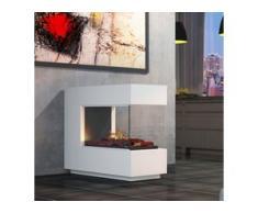 muenkel design loft.line -- C-02 Raumteiler [Design Opti-myst Elektrokamin mit Festwasseranschluss]: weiß (warm) - Ohne Heizung - Kieswanne mit schwarzen Steinen - mit Scheibe