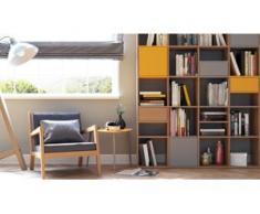 Holzregal Eiche - Modernes Regal aus Holz: Schubladen in Eiche & Türen in Grau - 156 x 195 x 35 cm, Personalisierbar