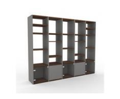 Schrankwand Grau - Moderne Wohnwand: Türen in Kristallglas klar - Hochwertige Materialien - 195 x 157 x 35 cm, Konfigurator