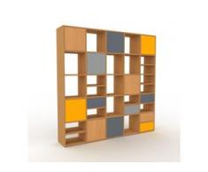 Holzregal Eiche - Modernes Regal aus Holz: Schubladen in Anthrazit & Türen in Buche - 195 x 195 x 35 cm, Personalisierbar