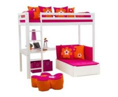 Hoppekids Hochbett inkl. Tischplatte und Ausziehbett, rosa