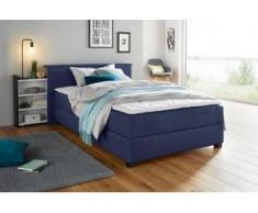 Breckle Boxspringbett, mit ausziehbarem Regal, Topper und Bettkasten, blau