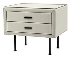 ADA premium Nachttisch »817«, mit Glasplatte, weiß