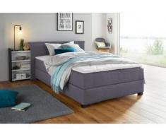 Breckle Boxspringbett, mit ausziehbarem Regal, Topper und Bettkasten, grau