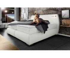 INOSIGN Boxspringbett »Black & White«, auch in Übergröße 200/220 cm, incl. LED Beleuchtung, bis zu 3 Härtegrade, Obermatratze bei 140 cm einteilig, weiß