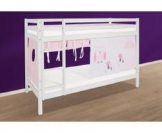Hoppekids Etagenbett »Eule«, mit blauem oder rosafarbenem Matratzenbezug, weiß