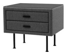 ADA premium Nachttisch »817«, mit Glasplatte, grau