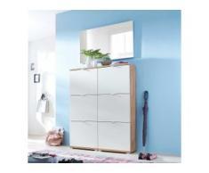Schuhschrank und Spiegel in Weiß und Eiche modern (3-teilig)
