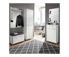 Garderobenset in Weiß Schuhschrank und Spiegel (5-teilig)