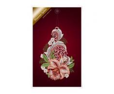 """Plauener Spitze Fensterbild """"Orchidee"""" rot (Bx H) 11cm * 29cm"""