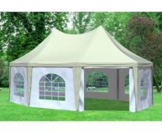 """5x6,8 m Pavillon ARABICA PVC 400 g/m² - wasserdicht - Beige Weiß inkl. Seitenwänden mit Fenster"""" """""""
