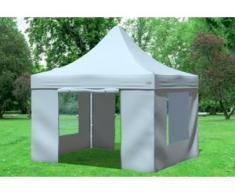 """3x3 m Faltpavillon Prof.+ ALU Polyester 330 g/m² - 100 % wasserdicht - Grau inkl. Seitenwänden mit Fenster"""" """""""