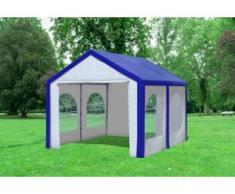 """3x4 m Partyzelt Modular Pro PE 240 g/m² - wasserdicht - Blau Weiß inkl. Seitenwänden mit Fenster"""" """""""