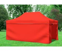 "3x4,5 m Faltpavillon Prof.+ ALU Polyester 330 g/m² - 100 % wasserdicht - Rot inkl. Seitenwänden"" """