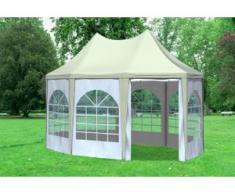 """3x4,1 m Pavillon ARABICA PVC 400 g/m² - wasserdicht - Beige Weiß inkl. Seitenwänden mit Fenster"""" """""""