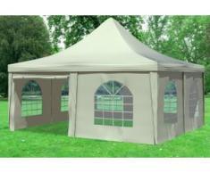 """5x5 m Pavillon ARABICA PVC 400 g/m² - wasserdicht - Beige inkl. Seitenwänden mit Fenster"""" """""""