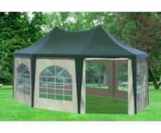 """4x5,5 m Pavillon ARABICA PVC 400 g/m² - wasserdicht - Grün Beige inkl. Seitenwänden mit Fenster"""" """""""