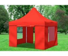 """3x3 m Faltpavillon Prof.+ ALU Polyester 330 g/m² - 100 % wasserdicht - Rot inkl. Seitenwänden mit Fenster"""" """""""