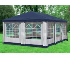 """4x6 m Pavillon DELUXE Polyester-PVC 280 g/m² - wasserdicht - Blau inkl. Seitenwänden mit Fenster"""" """""""