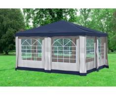 """4x4 m Pavillon DELUXE Polyester-PVC 280 g/m² - wasserdicht - Blau inkl. Seitenwänden mit Fenster"""" """""""