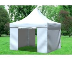 """3x3 m Faltpavillon Prof.+ ALU Polyester 330 g/m² - 100 % wasserdicht - Weiß inkl. Seitenwänden"""" """""""