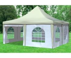 """5x5 m Pavillon ARABICA PVC 400 g/m² - wasserdicht - Beige Weiß inkl. Seitenwänden mit Fenster"""" """""""