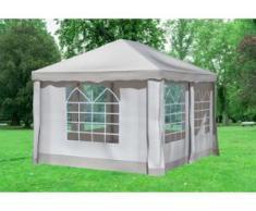 """3x4 m Pavillon DELUXE Polyester-PVC 280 g/m² - wasserdicht - Braun inkl. Seitenwänden mit Fenster"""" """""""