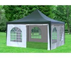 """4x4 m Pavillon ARABICA PVC 400 g/m² - wasserdicht - Grün Weiß inkl. Seitenwänden mit Fenster"""" """""""