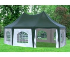 """5x6,8 m Pavillon ARABICA PVC 400 g/m² - wasserdicht - Grün Weiß inkl. Seitenwänden mit Fenster"""" """""""