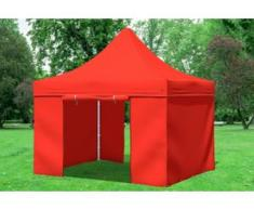 "3x3 m Faltpavillon Prof.+ ALU Polyester 330 g/m² - 100 % wasserdicht - Rot inkl. Seitenwänden"" """