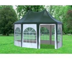 """3x4,1 m Pavillon ARABICA PVC 400 g/m² - wasserdicht - Grün Weiß inkl. Seitenwänden mit Fenster"""" """""""