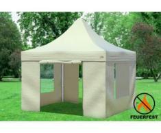 """3x3 m Faltpavillon Prof.+ ALU FR PVC 550 g/m² - 100 % wasserdicht - Beige inkl. Seitenwänden mit Fenster und Tür"""" """""""
