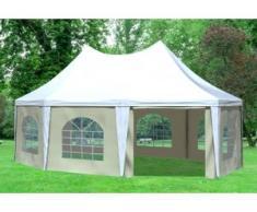 """5x6,8 m Pavillon ARABICA PVC 400 g/m² - wasserdicht - Weiß Beige inkl. Seitenwänden mit Fenster"""" """""""