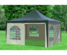 """4x4 m Pavillon ARABICA PVC 400 g/m² - wasserdicht - Grün Beige inkl. Seitenwänden mit Fenster"""" """""""