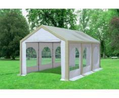 """3x6 m Partyzelt Modular Professional PVC 500 g/m² - wasserdicht - Braun Weiß inkl. Seitenwänden mit Fenster"""" """""""