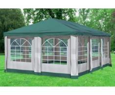 """4x6 m Pavillon DELUXE Polyester-PVC 280 g/m² - wasserdicht - Grün inkl. Seitenwänden mit Fenster"""" """""""